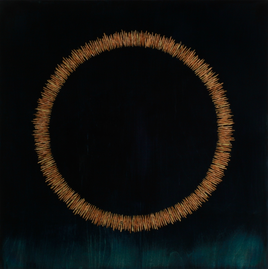 Circle Dream 34, 36%22 x 36%22, resin and bird of paradise seeds on panel, 2011
