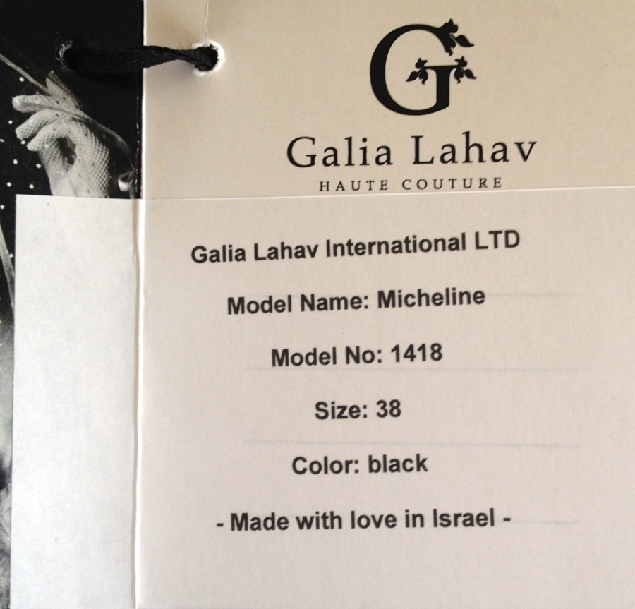 The official tag from Galia Lahav Haute Couture