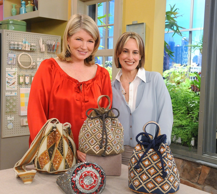 Mrs. Steward & Mrs. Tcherassi durin a TV taping - The bags are part of the new collection of Silvia Tcherassi, and have a strong tie to Pre-Colombian methods of waiving by the indians of the north sierras. As well a new take on the two tone traditional waiving system produced by the natives.