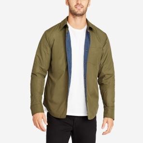 The Shirt Jacket - Olive Nylon on mannequin