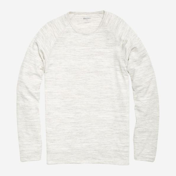 Yarn Spun Long Sleeve Henley in Marled White
