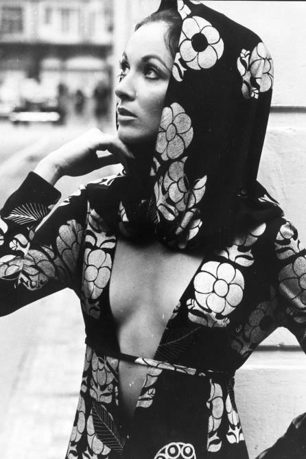 22nd September 1970: Modelled by Moica Platner, a black and silver open fronted dress in silk jersey with matching hood (Photo by Evening Standard/Getty Images)